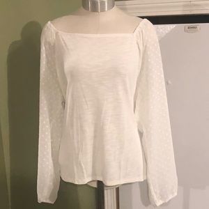 J Crew Square-neck top with sheer clip-dot sleeves